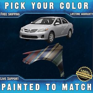 New Painted To Match Driver Front Left Fender For 2009 2013 Toyota Corolla Sedan Fits 2010 Toyota Corolla