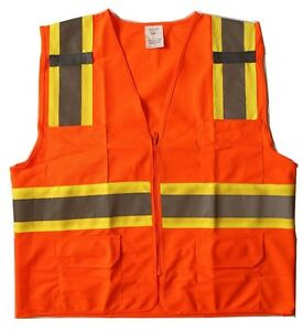 New Orange High Reflective Safety Vest W 4 pockets For Exercise Construction M L
