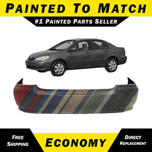 New Painted To Match Rear Bumper Cover For 2003 2008 Toyota Corolla Sedan