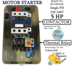 Magnetic Motor Starter Control 5 Hp Single Phase 220 240v 24 34a On off Button