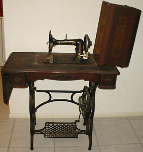 Antique Loeser No 3 Sewing Machine Treadle Table Serial 1431278