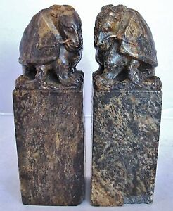 Antique Pair Of Chinese Hand Carved Soapstone Dragon Turtle Chop Seals 7 25