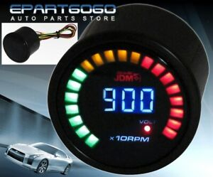 2 52mm Jdm Rpm Tachometer Volt Blue Digital Led Auto Gauge Meter Civic Integra