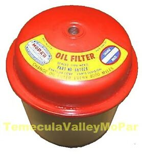 Sealed can Oil Filter W mopar Decal For 1955 1959 Plymouth Dodge Six