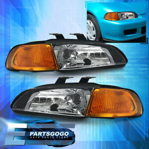 1992 1995 Honda Civic Lx Dx Ex Si Coupe Hatchback 1 Pc Black Amber Headlights
