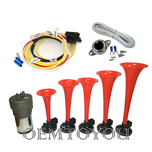 5 Trumpets La Cucaracha Musical Car Air Horn With Relay Button Installation Kit