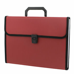 Red Plastic Housing 13 Pockets Papers Document File Holder Bag