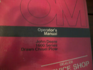 John Deere Operator s Manual 1600 Series Drawn Chisel Plow Issue I5
