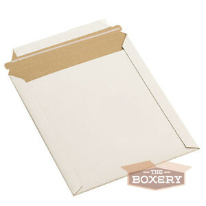 100 12 75x15 Rigid Flat Photo Mailers Self seal White From The Boxery