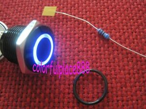 5pcs 16mm Blue Led Metal Momentary Pushbutton Switch Black Waterproof Onpow 12v