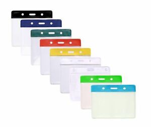 Flexible Plastic Id Card Badge Holder Pocket 7 Colours Available Free P p