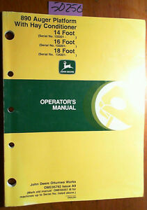 John Deere 890 Auger Platform W Hay Conditioner 14 16 18 Operator Manual 99