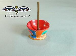 Small Wooden Buddha Lotus Incense Burner Holder Hand Carved And Painted