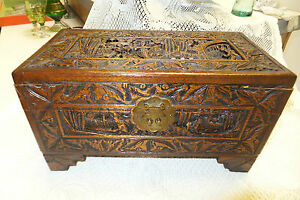 Antique Wooden Hand Carved Yu Ting Good Luck Chest Hong Kong