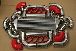 Red Fimc Intercooler Turbo Piping Kit Coupler Clamps Is300 Is250 Gs300 Ls400 V8