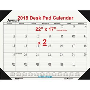 2 2018 Desk Pad Calendar 12month Appointment Scheduling Planner Day Ruled 22x17