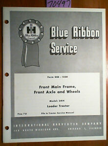 Ih International 3414 Loader Tractor Front Main Frame Front Axle Wheels Manual