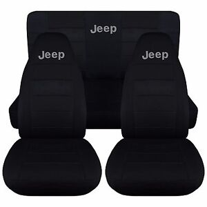 1987 1995 Jeep Wrangler Yj Seat Covers Solid Black With Silver Jeep