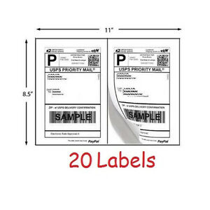 Shipping Labels 20 Self Adhesive Printer Paper Postage Ebay Paypal 8 5 X 5 5
