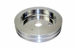 Sbc Chevy 283 350 Polished Aluminum Swp Double Groove Crankshaft Pulley