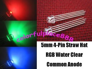 100pcs 5mm Straw Hat 4 pin Tri color Rgb Common Anode Water Clear Led Leds Light