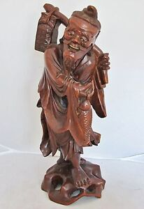 Antique Chinese Carved Wood Immortal Or Fisherman With Fish Basket 13 6