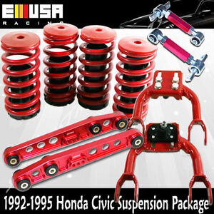Scaled Lowering Coilover Springs F Rcamber Rear Lower Control For Civic 92 95red