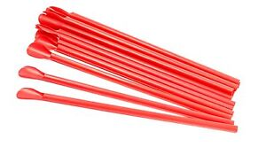 Red Spoon Straws Box Of 300 For Shaved Ice Snow Cones Unwrapped