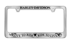 Harley Davidson Live To Ride Ride To Live Slogan License Plate Frame Holder