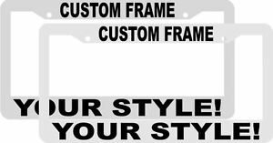 Lot Of 2 Custom Personalized White black Letters Customized License Plate Frame