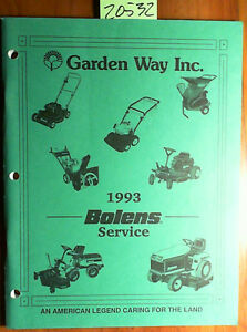 Bolens Walking Mower Rotary Tiller Mulcher Riding Tractor Service Manual 93
