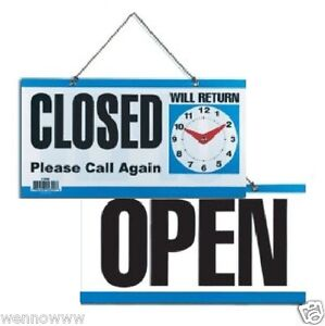 Double sided Open closed will Return Sign With Clock Hands 6 Inch X 11 5 Inch