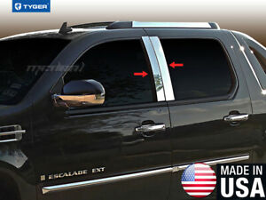 Fits 07 2014 Cadillac Escalade esv ext Suv 4pc Stainless Accent Pillar Post Trim