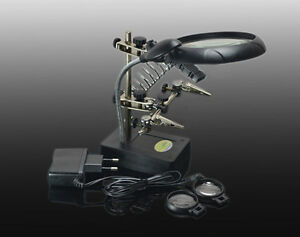 Aa 220v Auxiliary Alligator Clip Magnifier 5 Led Light Soldering Stand Stations