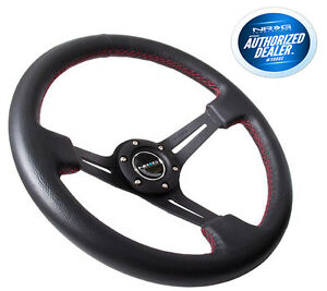 Nrg Deep Dish Steering Wheel 350mm Black Leather Red Stitch Rst 018r rs