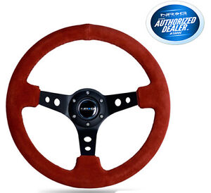 Nrg Deep Dish Steering Wheel 350mm Red Suede Black Center Black Stitch St 006s R
