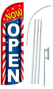 Now Open Banner Sign Flag Kit 3 Wide Windless Swooper Feather Advertising 10799