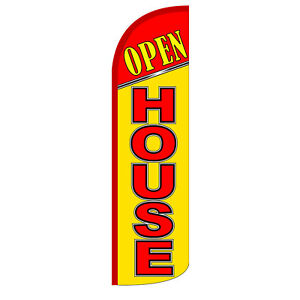 Open House Flag Kit 3 Wide Windless Swooper Feather Advertising Sign