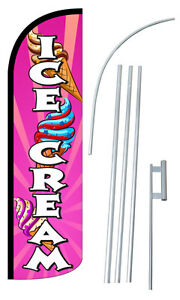 Ice Cream Flag Kit 3 Wide Windless Swooper Feather Advertising Sign