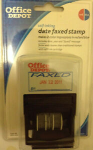 3 X Office Depot Self inking Date Faxed Stamp date year faxed New Sealed P