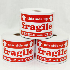 1200 Labels 3x5 Fragile Handle With Care Arrow This Side Up Shipping Rolls