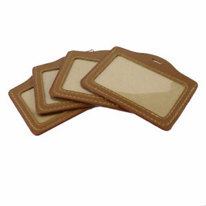 4 Pcs Horizontal Design Faux Leather Worker Id Badge Card Holder Brown
