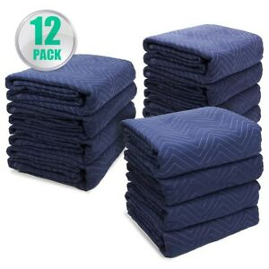 lot 12 Heavy Duty Moving Blankets Padded Furniture Moving Pads Protection 65lb