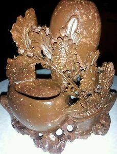 Antique China Natuornate Carved Shou Shan Stone Vase And Flowers Highly Detailed