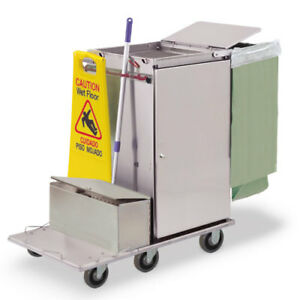 Royce Rolls f2430 lst1e Stainless Steel Wide mini Microfiber Housekeeping Cart
