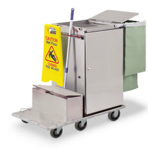 Royce Rolls f2436 lst1e Stainless Steel Wide size Microfiber Housekeeping Cart
