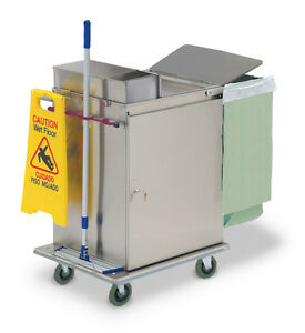 Royce Rolls mp2430e Stainless Steel Wide mini Microfiber Housekeeping Cart