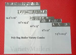 18 Poly Envelope Variety Pack 5 Lrg To Med Sizes Self sealing Postal Mailers