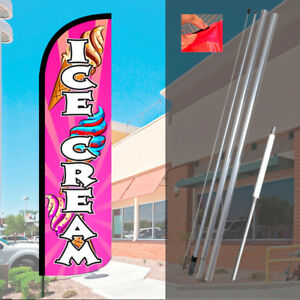 Ice Cream pink Windless Feather Banner Flag Kit flag Pole Ground Mt