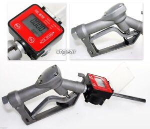 Fuel Gasoline Diesel Petrol Oil Gun W digital Flow Meter Manual Nozzle Dispenser